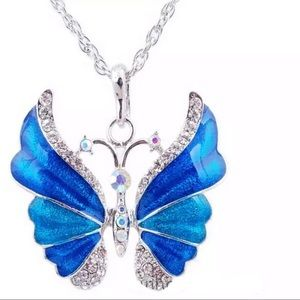 Blue Shimmery Enamel Butterfly Pendant Necklace